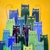 Котешко събрание,  44х32, живопис върху коприна