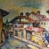 Къщи от Банско, 27х35, масло, платно